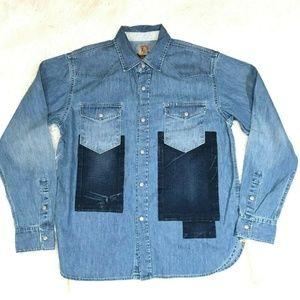 Prps Goods & Co Denim Shirt w/ Square Design